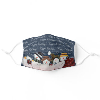 Happy Holidays snowmen and rope text Adult Cloth Face Mask