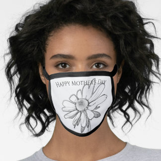 Happy Mothers Day - Black-Eyed Susan Sketch B&W Face Mask