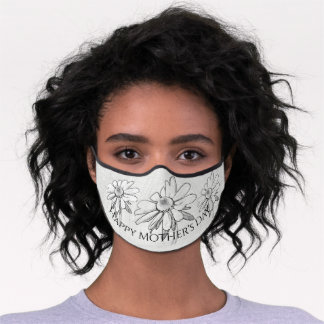 Happy Mothers Day - Black-Eyed Susan Sketch B&W Premium Face Mask