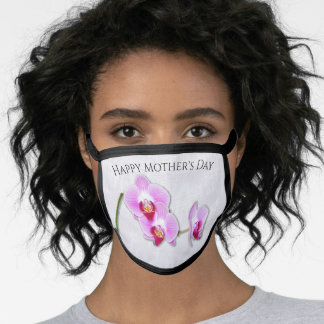 Happy Mother's Day Purple Orchids Floral Photo Face Mask