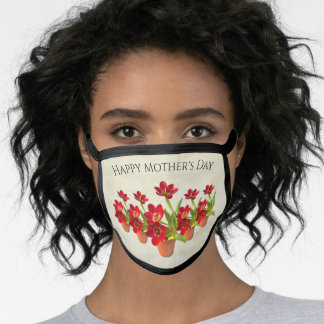 Happy Mother's Day Red Rose Bouquet | Love Face Ma Face Mask