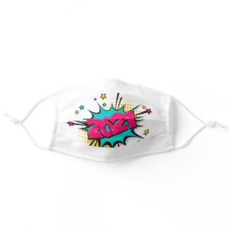 Happy New Year 2021 Comic Text Bubble Adult Cloth Face Mask