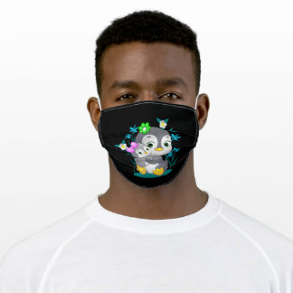 happy penguin is lifting the baby adult cloth face mask