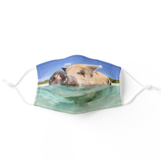 Happy Pig Standing in the Water Cloth Face Mask