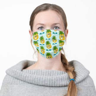 Happy Pineapples, Water Splash And Stripes Adult Cloth Face Mask