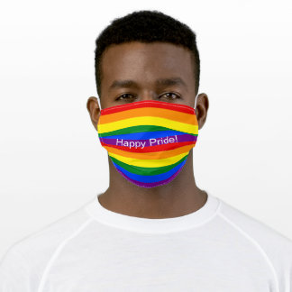 Happy Pride Colorful Rainbow Stripes Adult Cloth Face Mask