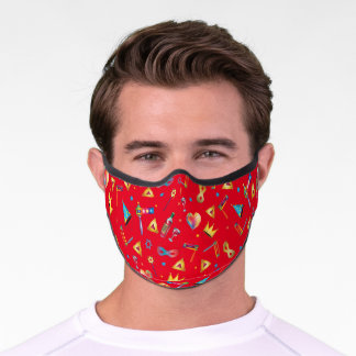 Happy Purim Festival Kids Party Gifts Red Pattern Premium Face Mask