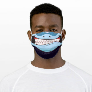 Happy Shark - Smile - Teeth - Funny - Adult Cloth Face Mask