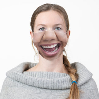 Happy Smiling Woman Beautiful Teeth Funny Adult Cloth Face Mask