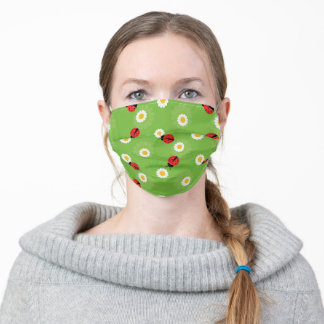 Happy Spring with lady bugs all over Adult Cloth Face Mask