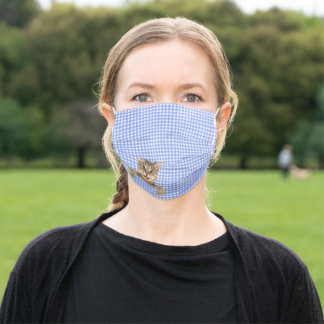 happy tabby cat on blue gingham adult cloth face mask