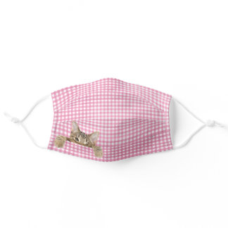 happy tabby cat on gingham adult cloth face mask
