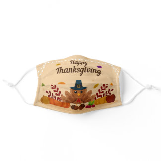 Happy Thanksgiving Turkey Adult Cloth Face Mask