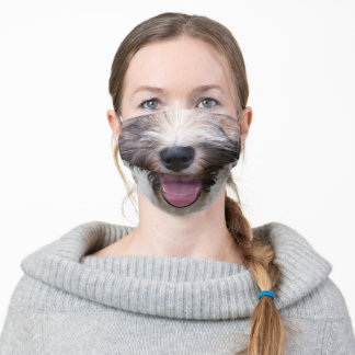 Happy Tibetan Terrier Dog face Adult Cloth Face Mask