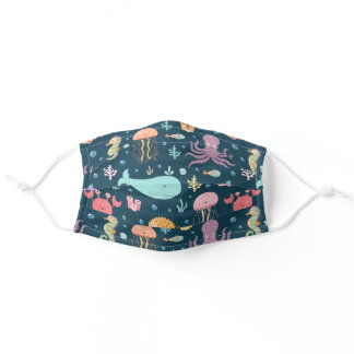 Happy Whale Jellyfish Sea Horse Reusable Washable Adult Cloth Face Mask