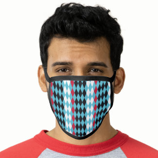 Harlequin diamonds turquoise, red, black and white face mask
