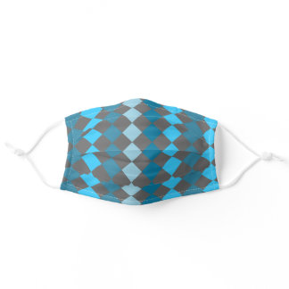 Harlequin Turquoise and Grey Pattern Adult Cloth Face Mask