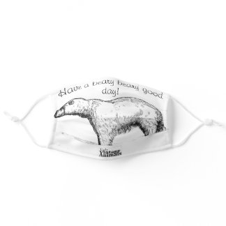 Have a good day! Vintage Polar Bear Etching Adult Cloth Face Mask