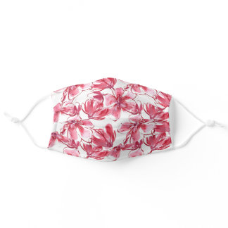 Hawaiian Floral Watercolor in Carmine Pink & Red Adult Cloth Face Mask