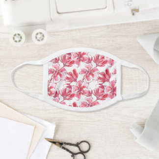 Hawaiian Floral Watercolor in Carmine Pink & Red Face Mask