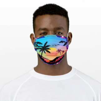 Hawaiian Island Silhouette Sunset Adult Cloth Face Mask