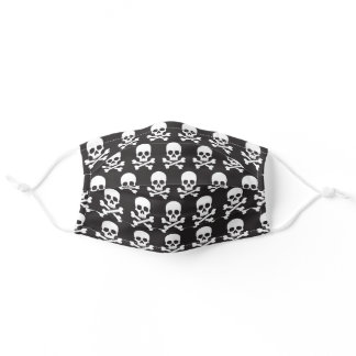 Hazard Warning Skulls Icon Black White Halloween Adult Cloth Face Mask