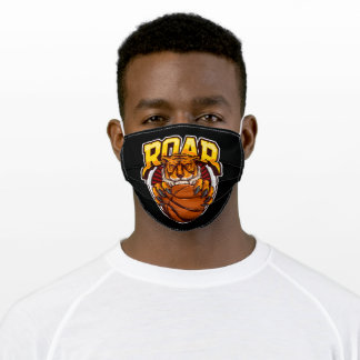 Head of the tiger hold a ball of basketball adult cloth face mask