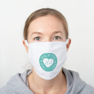 Heart code aqua green protection guest wedding kit white cotton face mask