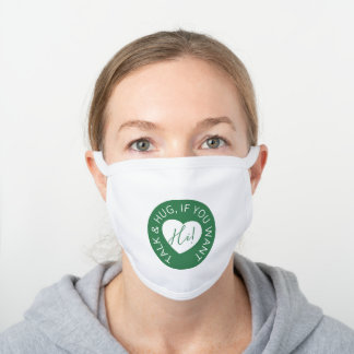 Heart code green protection guest wedding kit white cotton face mask