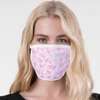 Heart Pattern Pretty Cute Girly Pastel Pink White Face Mask
