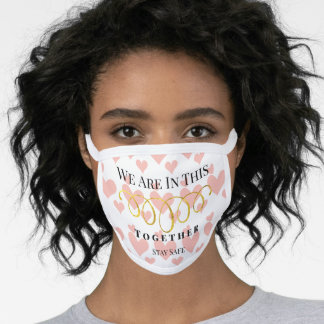 Heart Pattern Stay Safe or Your Quote or Name Face Mask