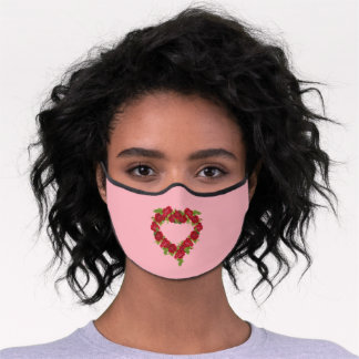 Heart Shaped Wreath of Pretty Red Roses Pink Premium Face Mask