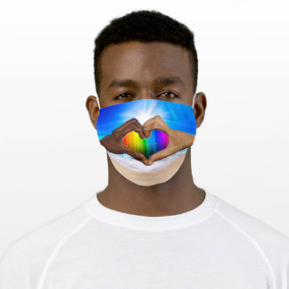 Hearted hands, SlipperyJoe, gay pride gifts, LGBTQ Adult Cloth Face Mask
