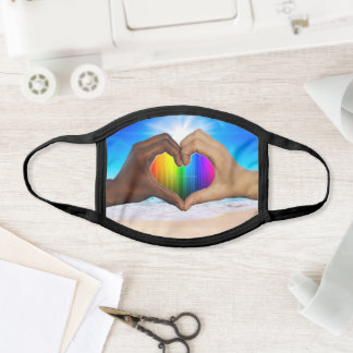 Hearted hands, SlipperyJoe, gay pride gifts, LGBTQ Face Mask