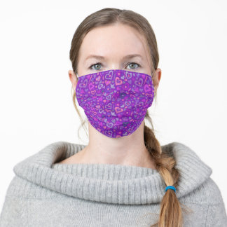 Hearts Love Collage Pattern Purple Violet Pink Adult Cloth Face Mask