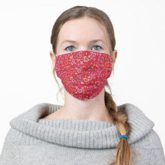 Hearts Love Collage Pattern Scarlet Red Golden Adult Cloth Face Mask
