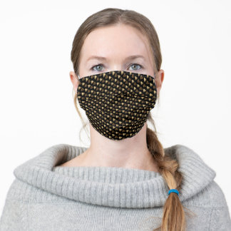 Hearts Pattern Faux Gold Brown on Black Valentine Adult Cloth Face Mask