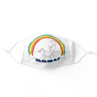 "Hebrew ""Ahava"" =""Love"" w. Unicorn & Rainbow Adult Cloth Face Mask"
