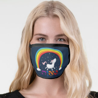 "Hebrew ""Ga'avah"" = PRIDE w. Unicorn & Rainbow Face Mask"