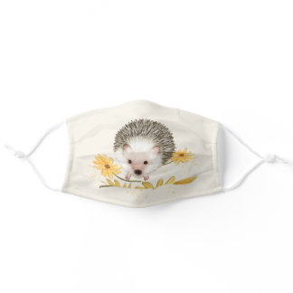 Hedgehog Flowers Cloth Face Masks