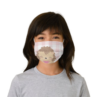 Hedgehog Love Pink Buffalo Plaid Gingham Kids' Cloth Face Mask