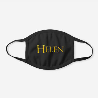 Helen Woman's Name Black Cotton Face Mask