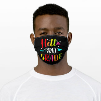 Hello 3rd Grade Teacher or Student Adult Cloth Face Mask