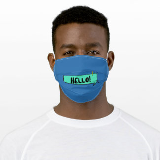 Hello Greeting Speech bubble Cute Blue Adult Cloth Face Mask