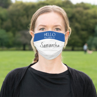 Hello my Name is Custom Business Name tag Adult Cloth Face Mask