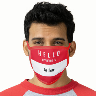Hello Name Tag Student Facemask Face Mask