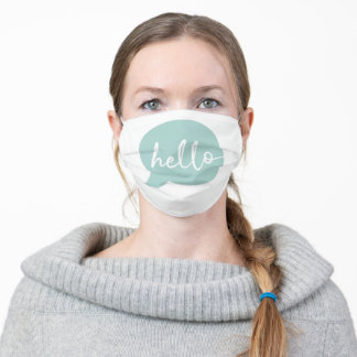 Hello Speech Bubble - Soft Green Adult Cloth Face Mask