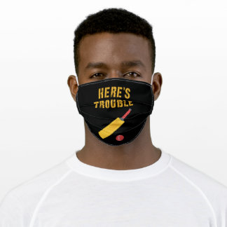 Here's Trouble Cricket Adult Cloth Face Mask