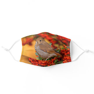 Hermit Thrush Songbird on the Scarlet Firethorn Adult Cloth Face Mask