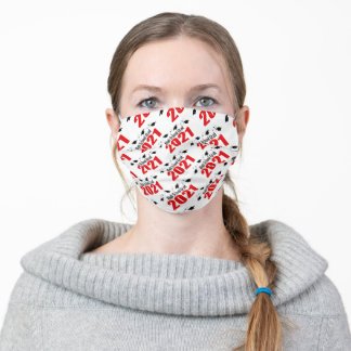 High School Grad 20212 Caps And Diplomas (Red) Adult Cloth Face Mask